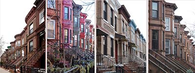 four pictures of brownstone buildings