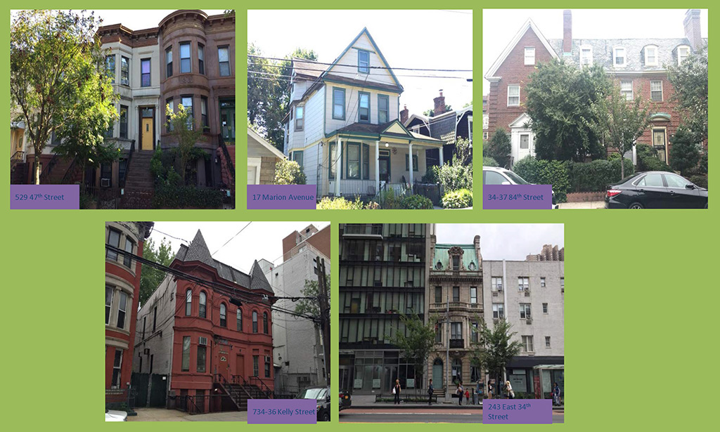 collage of five buildings