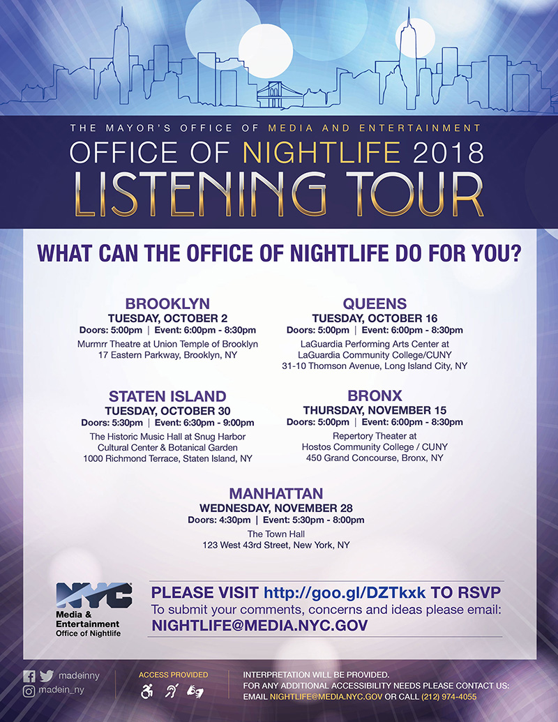 Office Of Nightlife Announces Five Borough Listening Tour This Fall