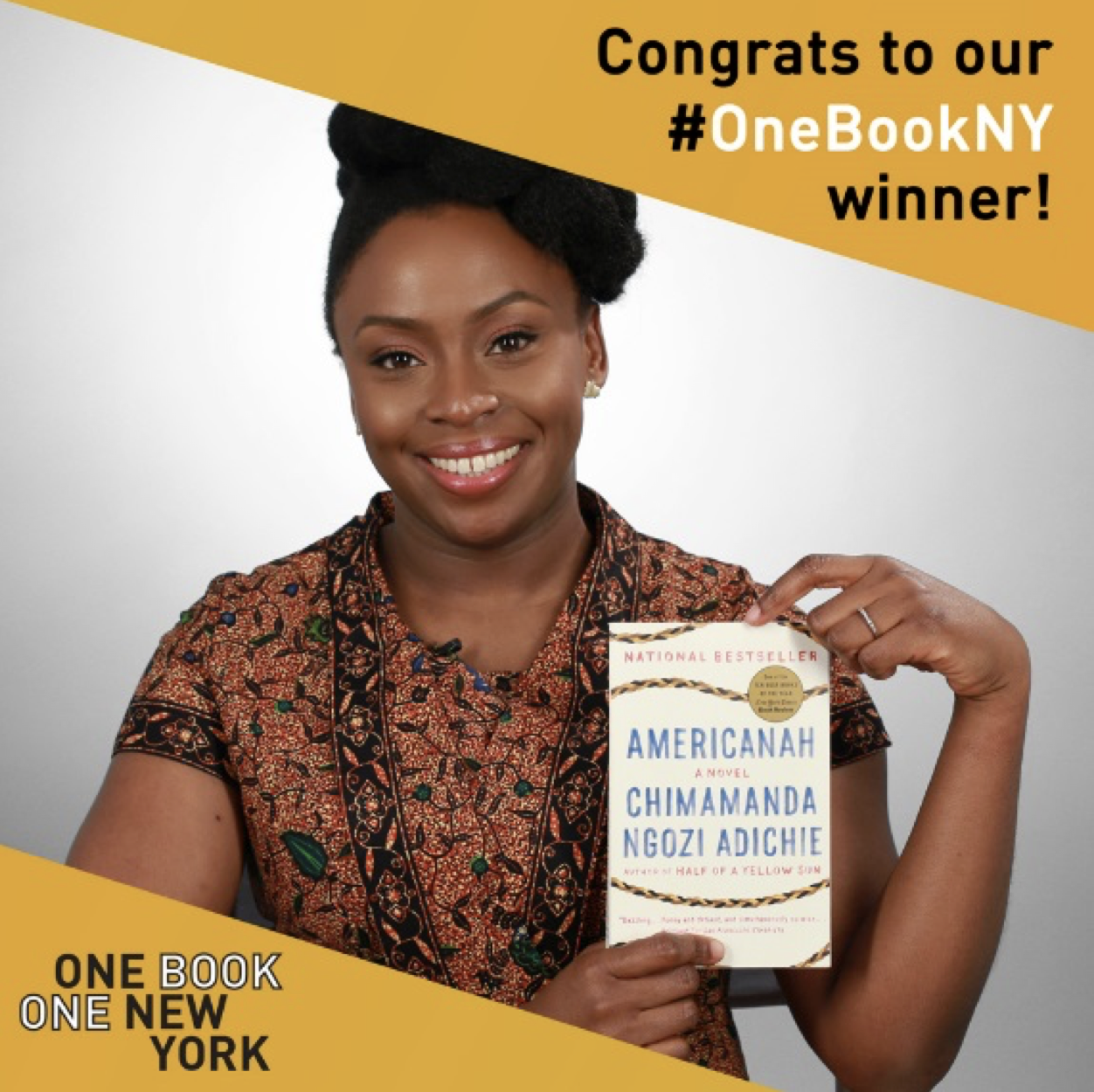 New Yorkers chose Chimamanda Ngozi Adichie's Americanah as the winning book