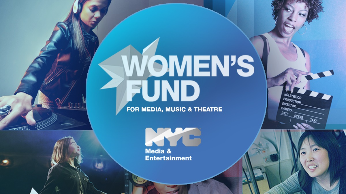 Women's Fund logo featuring women playing music, performing a play