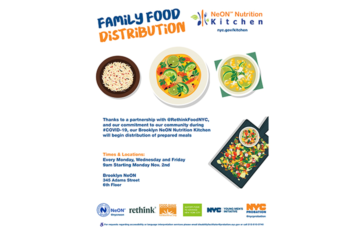 An image with text reading Family Food Distribution. It includes a schedule as well as logos at the bottom.