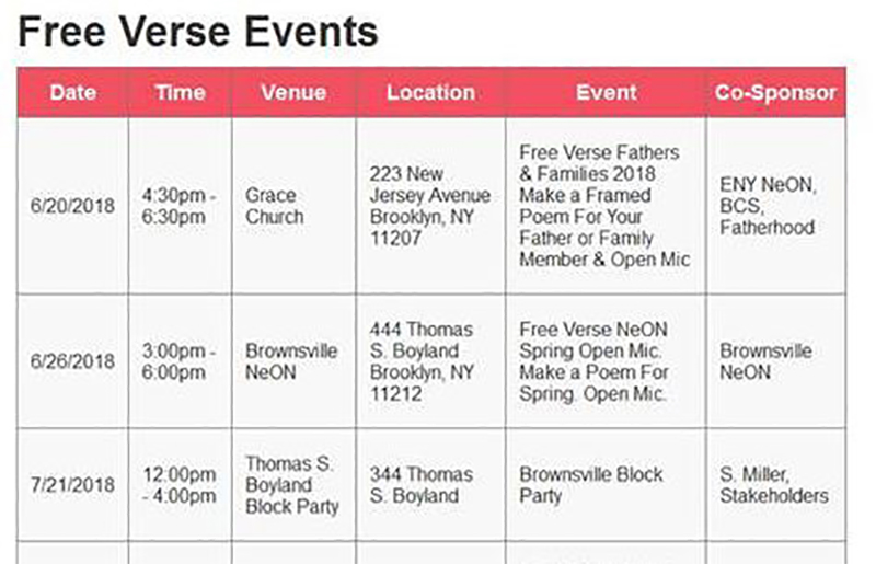 Free Verse Events