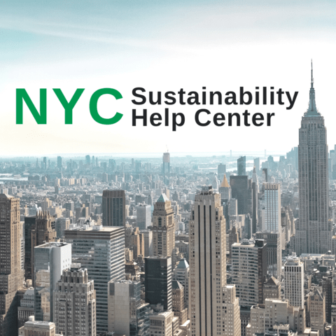 Photo of a skyline with the words NYC Sustainability Help Center