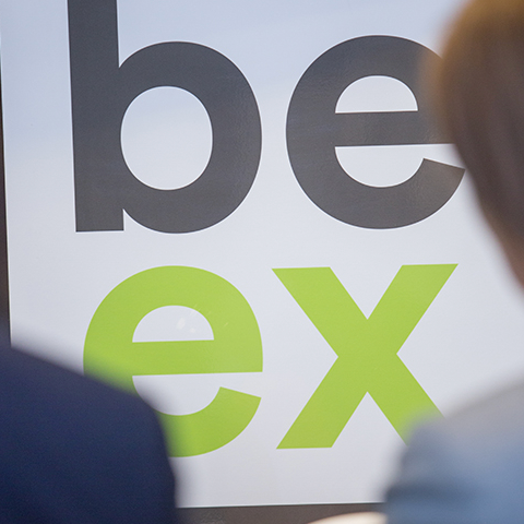Green and grey logo for BE-Ex