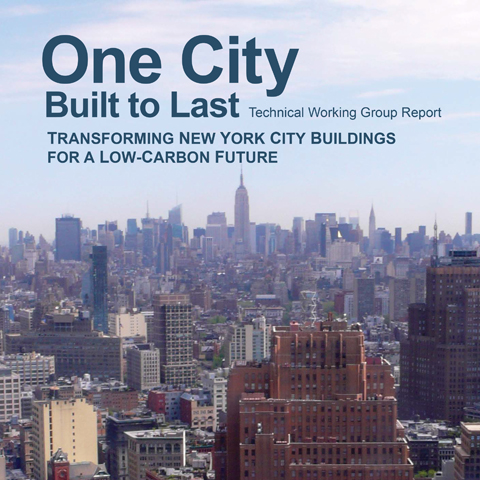 Cover for the One City Built to Last Report that features the NYC skyline