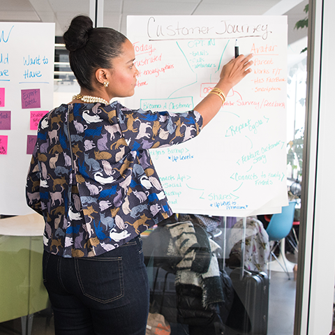 Woman at a whiteboard pointing towards a diagramed outline of the Customer's Journey, part of a training program