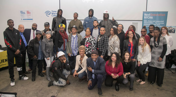Sandy-impacted resident graduates of the NYCHA-sponsored Pathways to Apprenticeship course.