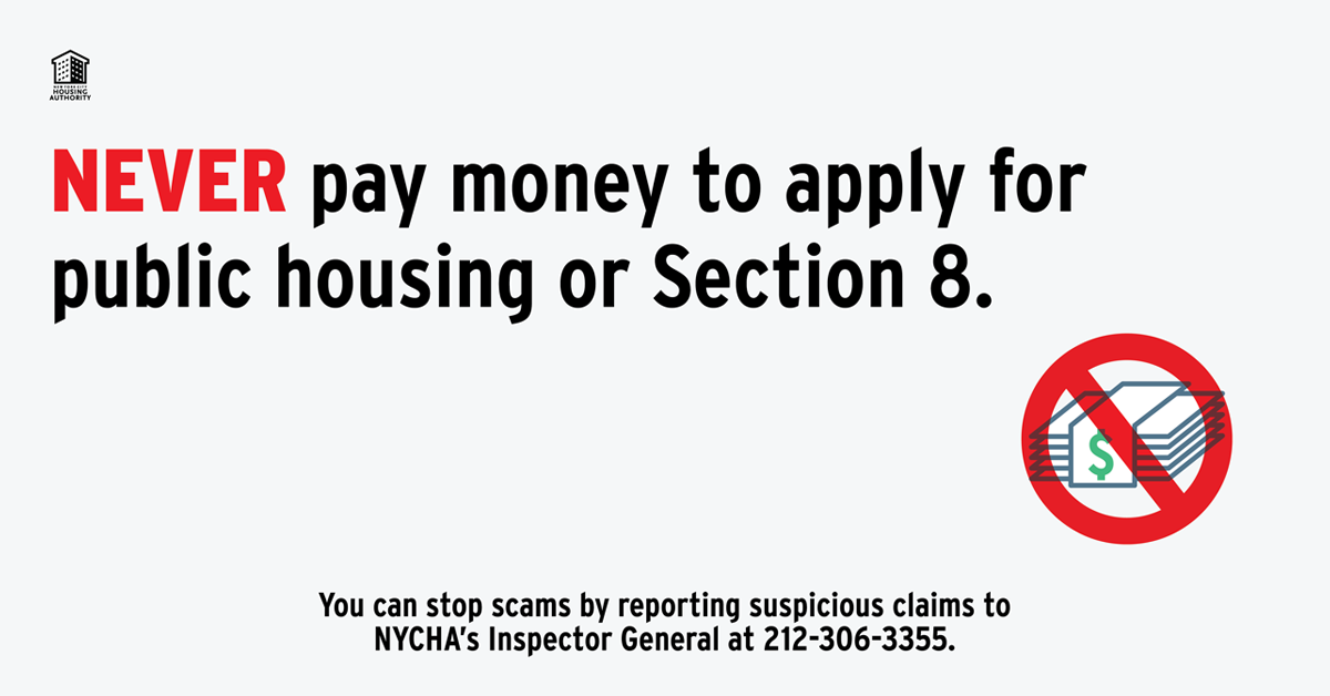 Never Pay Money To Apply For Public Housing or Section 8