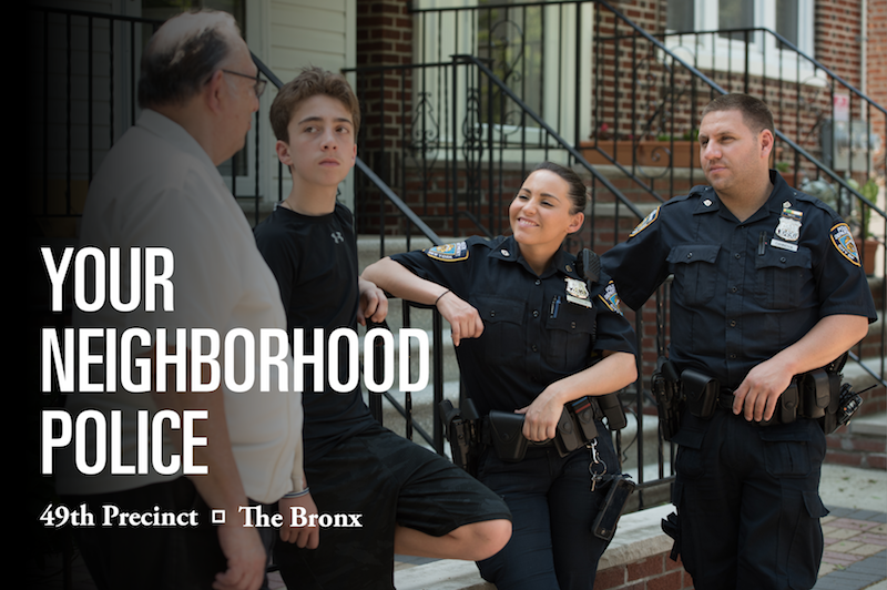 Two Neighborhood Coordination Officers talking to local residents in front of their home