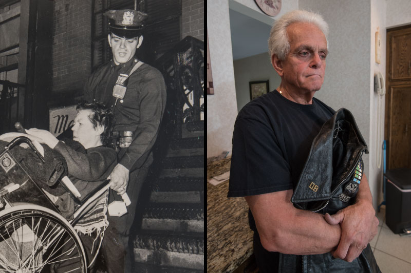 Dominic Vetrano, 1969, in wheelchair, and today, holding jacket and looking somber
