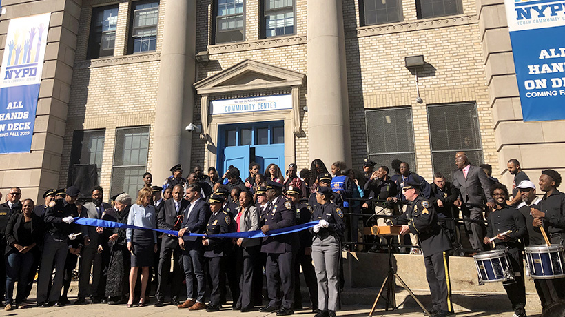 Ribbon cutting for the new NYPD Community Center in East New York