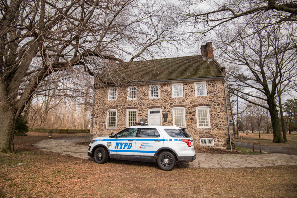 NYPD police car in front of the Historic Conference House in Staten Island