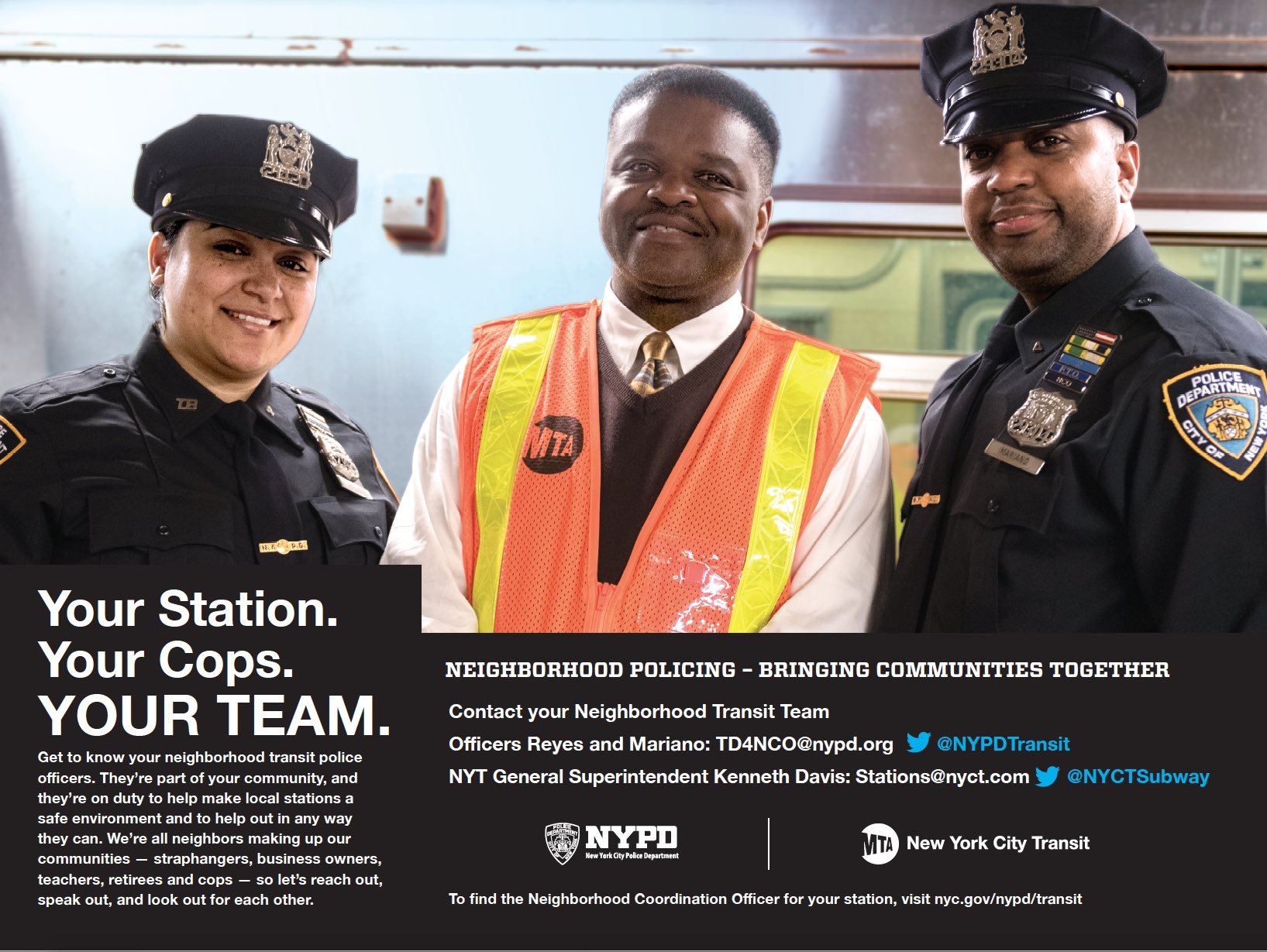 Two NYPD Officers and an MTA member strategize about neighborhood transit policing