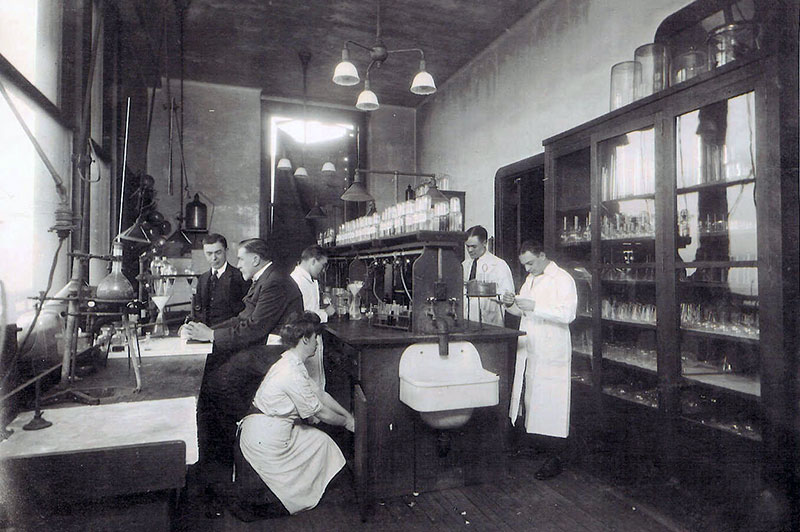A historic image of an early toxicology lab