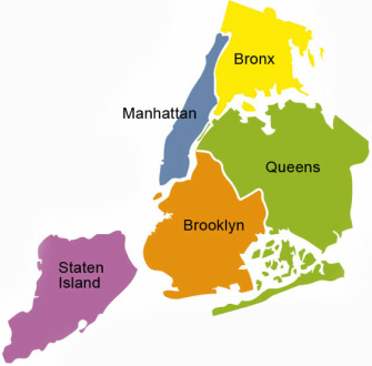 Outline of all five boroughs of New York City