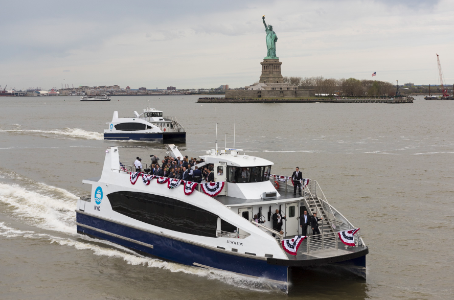 City Ferry Sailing past the Statue of Liberty