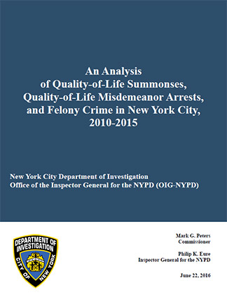 OIG-NYPD Quality of Life Report 2010-2015