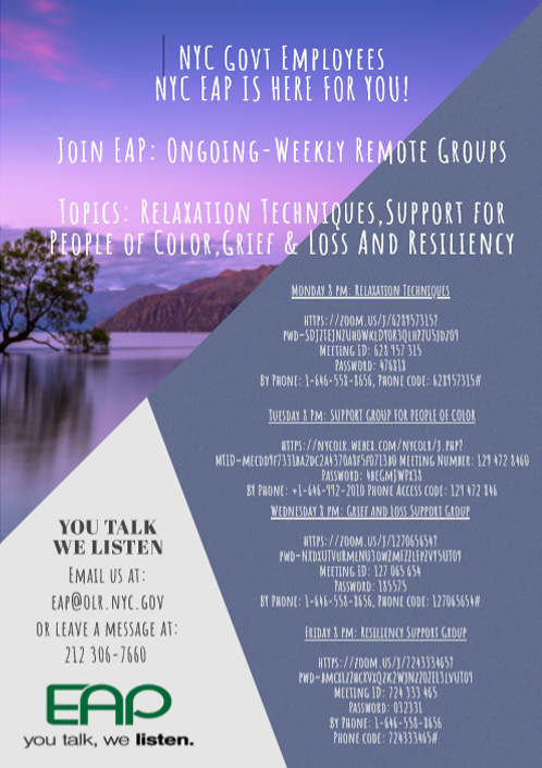 EAP Ongoing Weekly Remote Groups flyer
