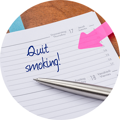 Quit Smoking written on a notepad