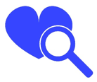 Blue Heart with Magnifying Glass - Find a Doctor