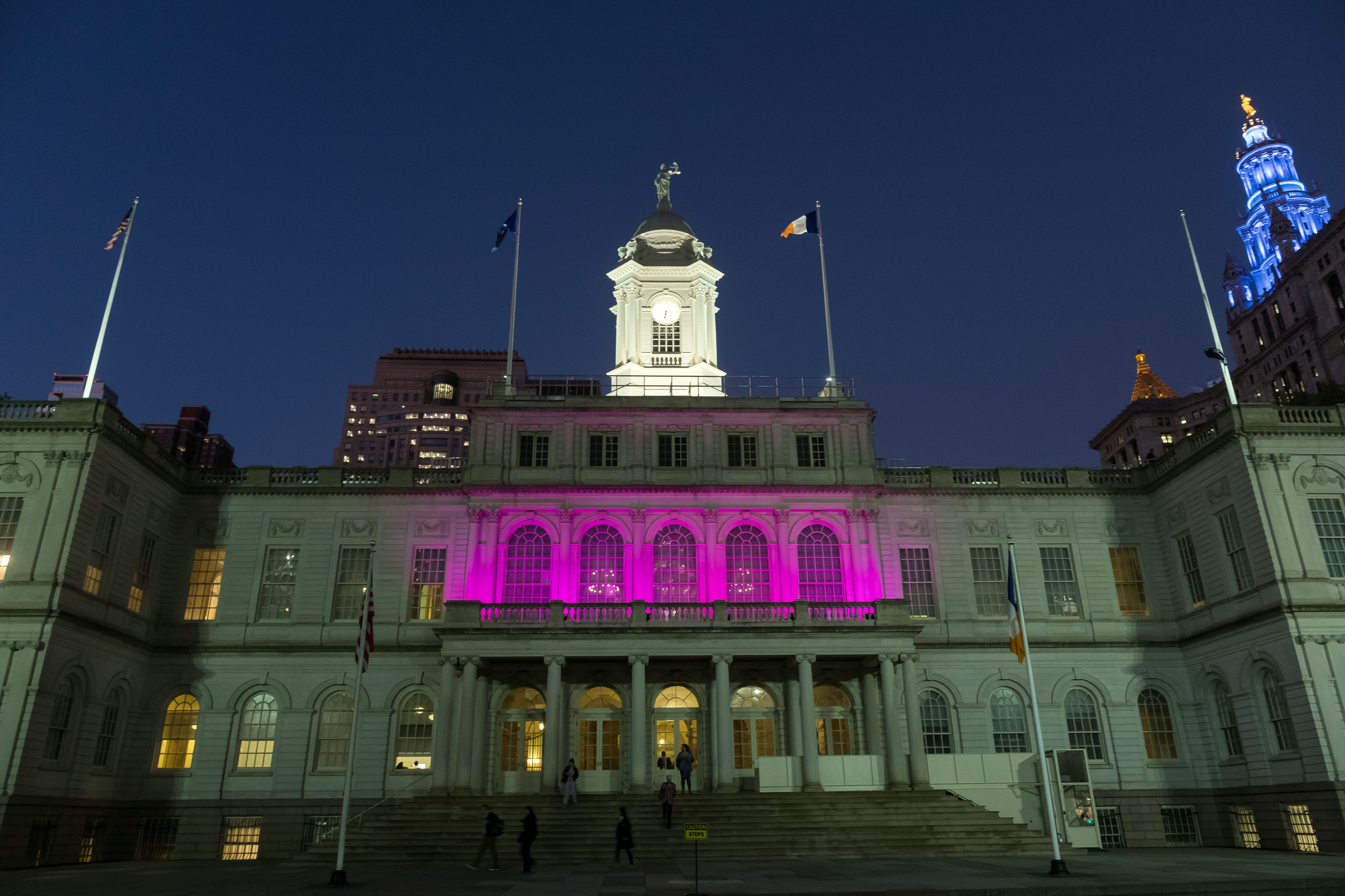 City Hall lit in purple to honor the memory of those we've lost to Domestic viol
