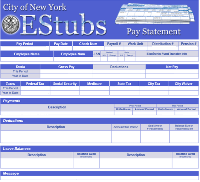 city of new york estubs screen capture of sample paystub