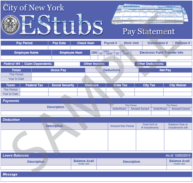 City of New York EStubs - Screen capture of sample paystub