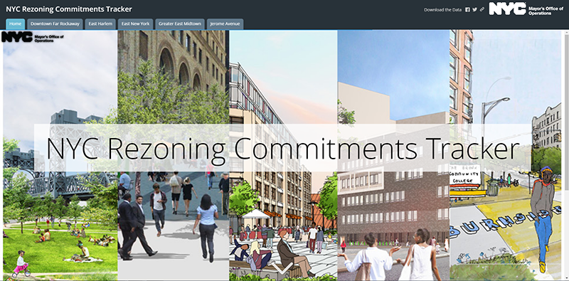 NYC Rezoning Commitments Tracker homepage