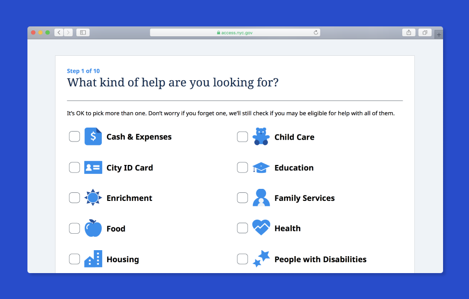 ACCESS NYC eligibility screener with options to select the type of help a New Yorker is looking for.