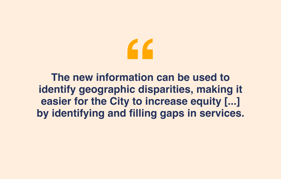 Quote - The Social Service Site location map can be used to identify geographic disparities, making it easier for the City to increase equity by identifying and filling gaps in services.