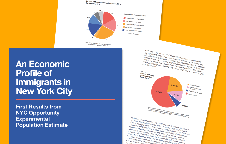 "Cover of report and charts from the ""Economic Profile of Immigrants in NYC"" report"