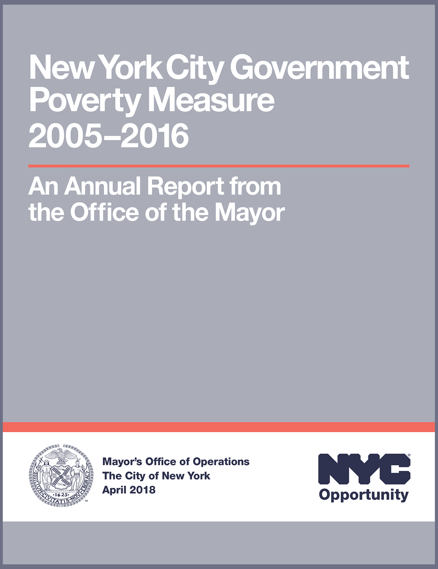 Cover of the NYC Government Poverty Measure 2005-2016 Report