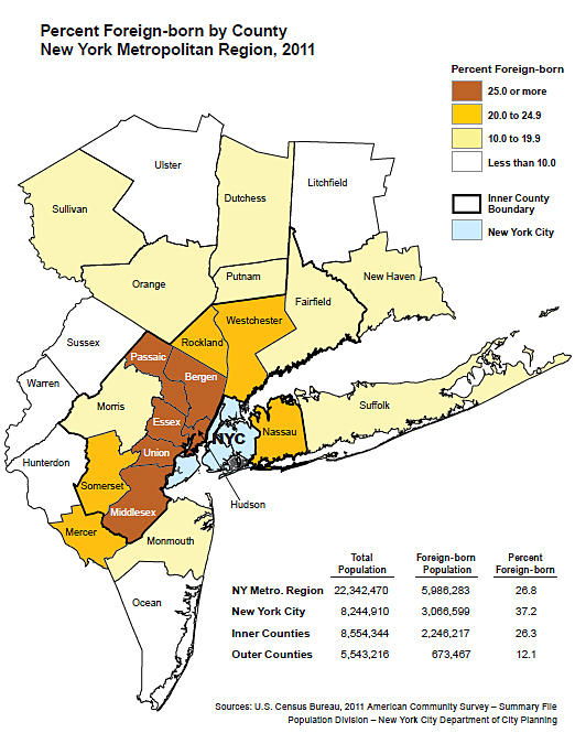 Percent Foreign Born By County New York Metropolitan Region 2011