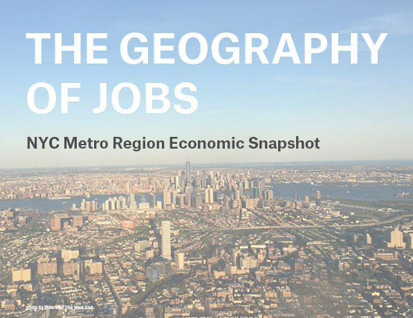 Cover of The Geography of Jobs report, aerial image of Jersey City looking towards Manhattan
