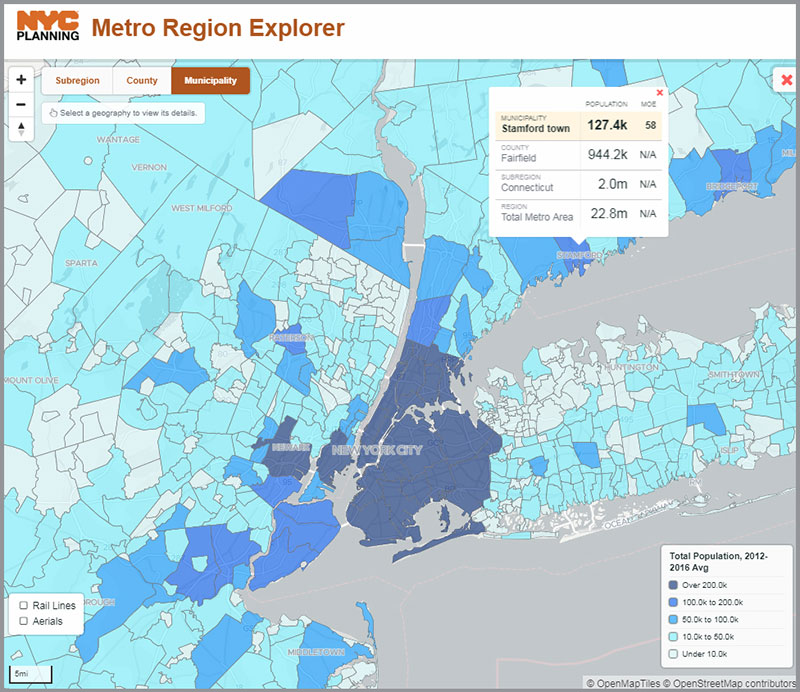Screenshot of NYC Metro Region Explorer interactive map and data platform, highlighting total population for municipalities in the tri-state region