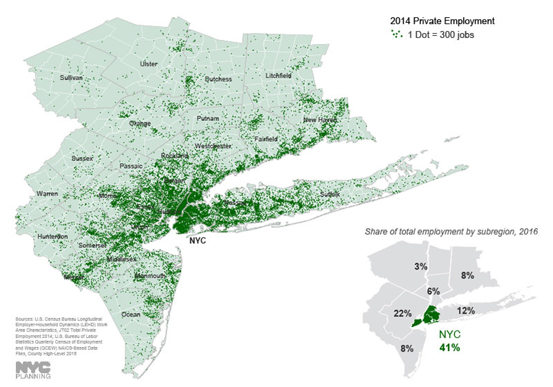 This map represents total private jobs mapped to U.S. Census Tracts for 2014 using U.S. Census data. The graphic also indicates the share of total employment - including public employment - for NYC metropolitan region counties using U.S. Department of Labor data, aggregated by subregion.