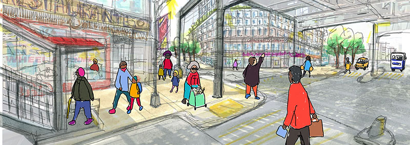 Illustration of people walking under elevated train tracks