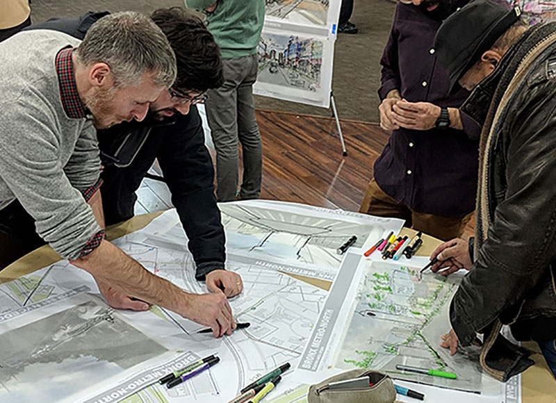 Participants work with DCP's urban designers to bring their visions for the area to life.