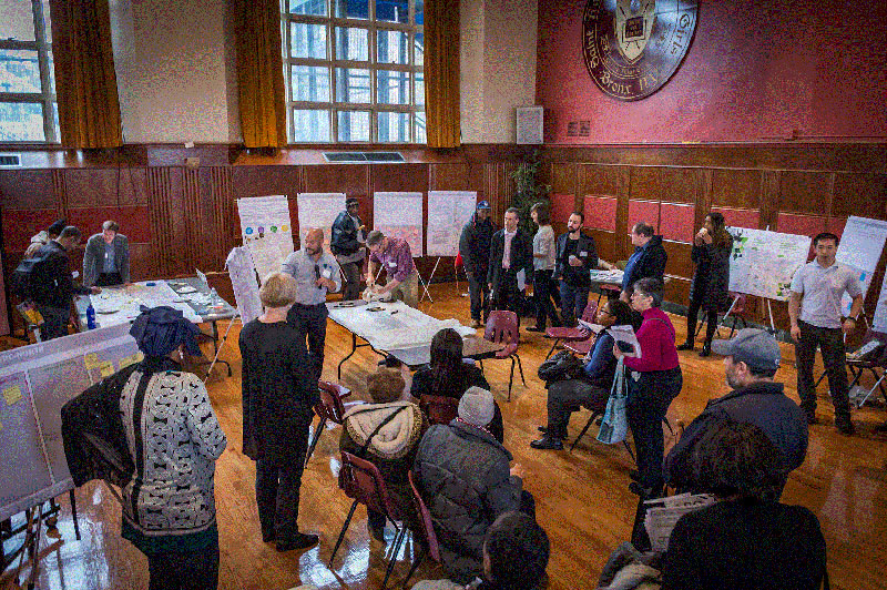 Community members discuss their vision for the future of the Parkchester/Van Nest station area.
