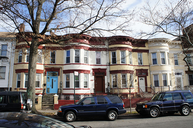 Residential blocks are characterized by two-three story rowhouses.