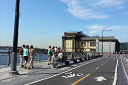 View of Phase 2 esplanade towards Battery Maritime Building, with new bikeway in foreground