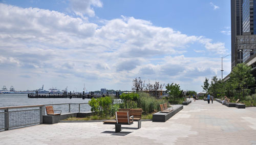 Plantings and seating along the new esplanade
