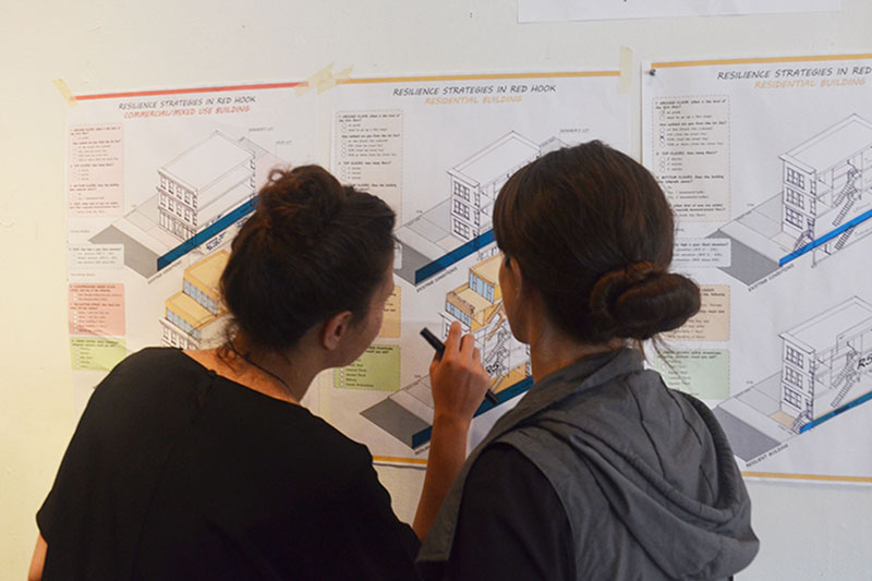 Participants at a workshop in Red Hook  discussing the different options for resilient zoning strategies