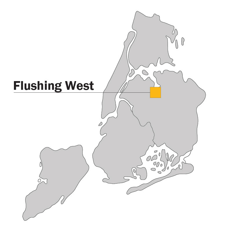 Flushing West Locator map
