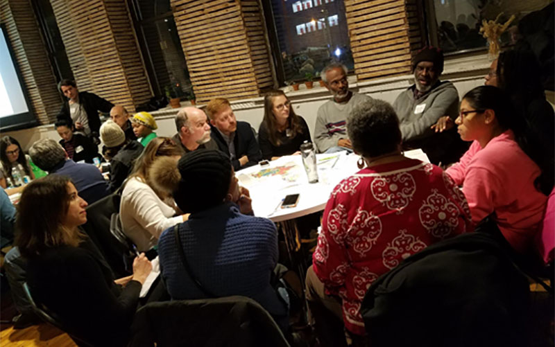 December 2018 - Roundtable breakout discussion at December 2018 Gowanus Fair Housing event
