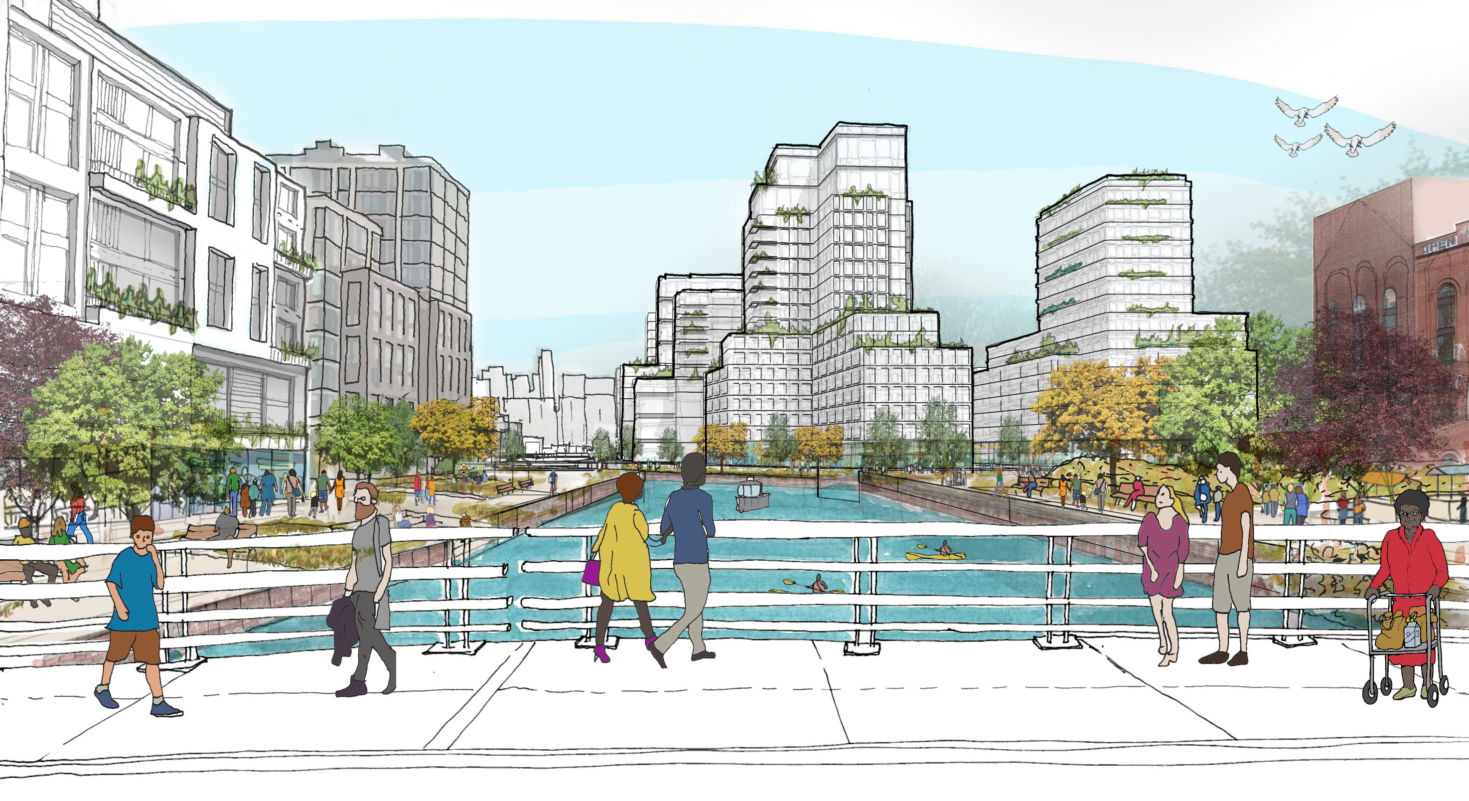 Vision sketch of Gowanus canal bridge crossing with waterfront development and pedestrian activity