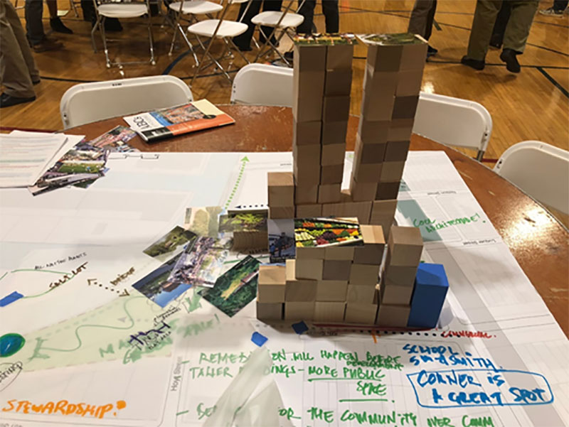 November 2018 - Wooden blocks stacked to represent one group's building massing vision for Public Place