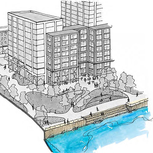 Aerial sketch of buildings and open space on the waterfront
