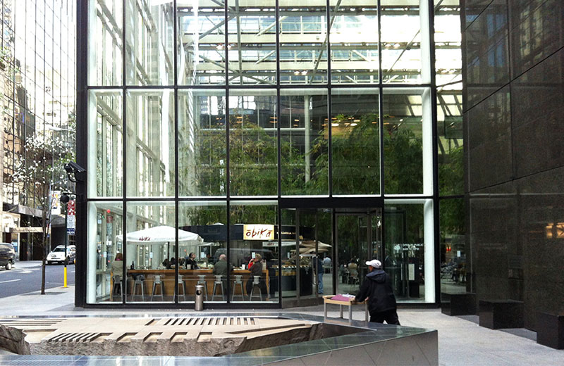 Transparent building walls enhance visual connection and sense of safety in public plazas